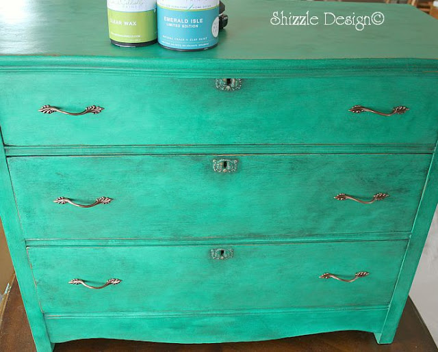 Emerald Isle CeCe Caldwell's Limited Edition green painted on dresser by Shizzle Design of Grand Rapids MI colors ideas painted furniture dark wax is drying