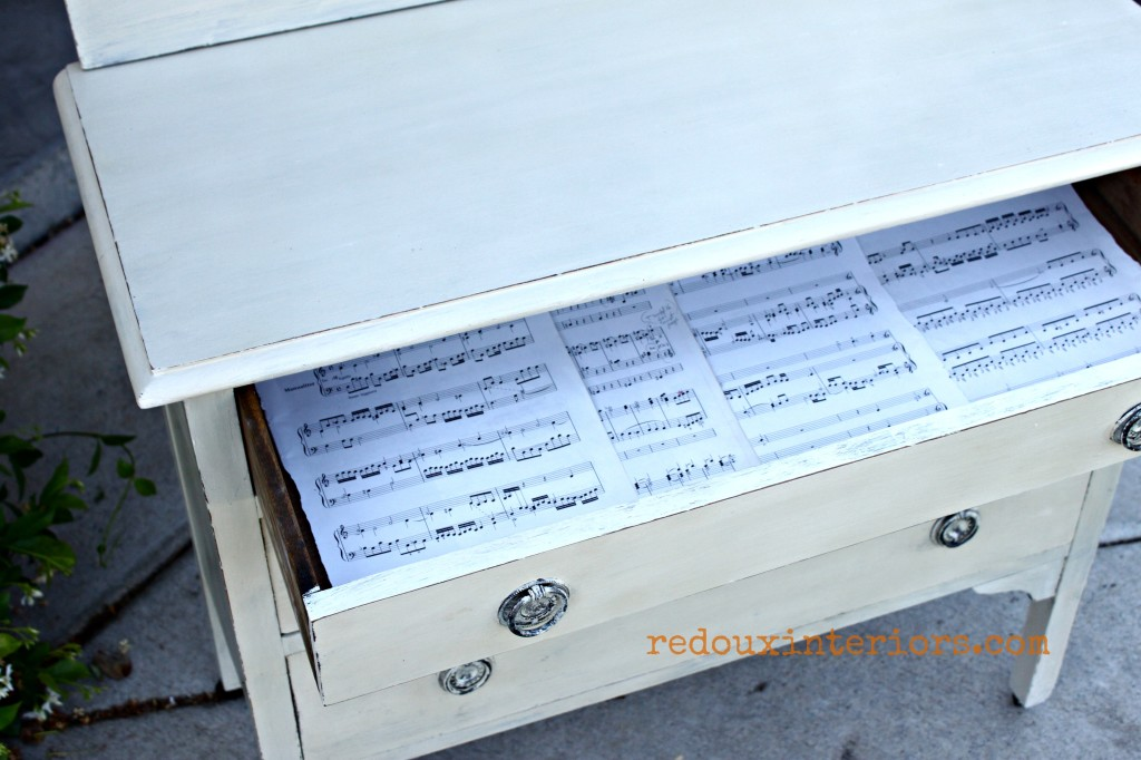 Friendship Dresser lined with sheet music