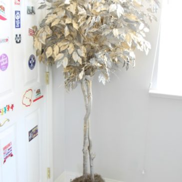 Ficus Tree painted makeover gold and silver after redouxinteriors