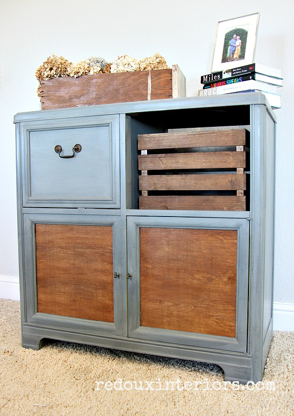Vintage Stereo Cabinet makeover in place redouxinteriors