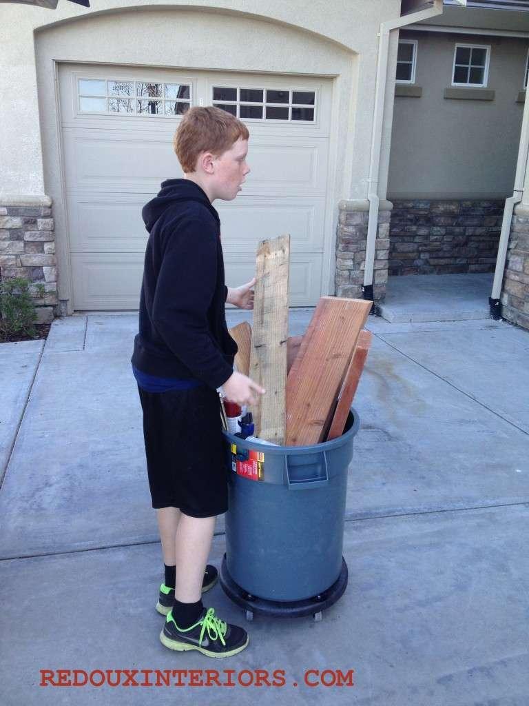 Travis with scrap wood 1