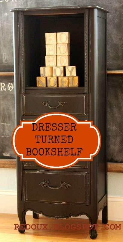 Dresser bookshelf with banner