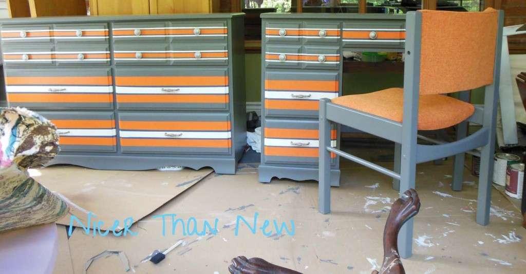 Nicer than New Orange Striped Desk