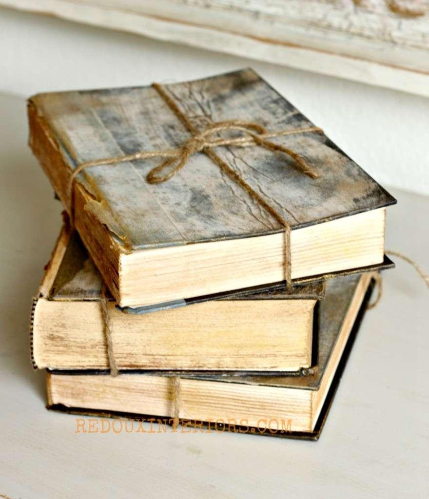 Antiqued Books Redouxinteriors