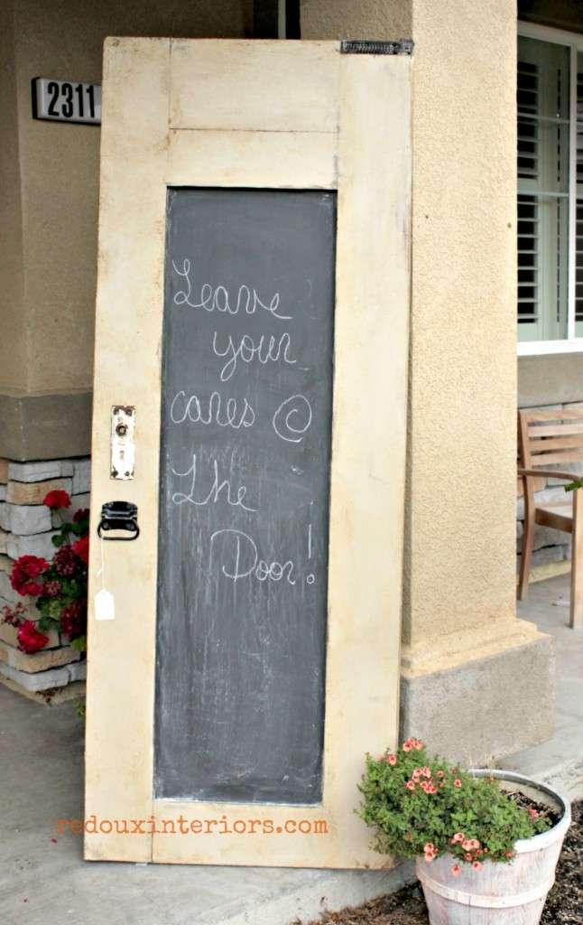 Chalkboard door with weathered glaze redouxinteriors