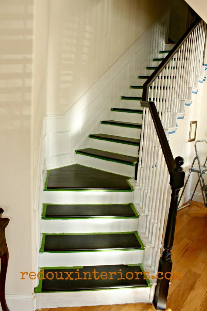 Black and white stairs in progress redouxinteriors