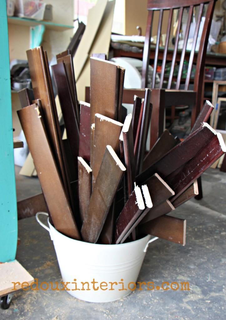 Dumpster crib parts cut up in bucket redouxinteriors