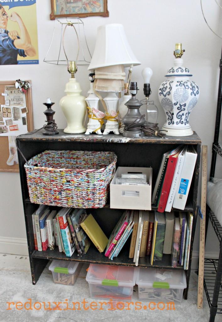 Junk bookshelf with lamps redouxinteriors