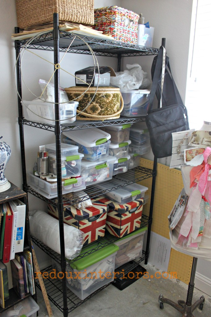 Open wire shelving storage for crafts