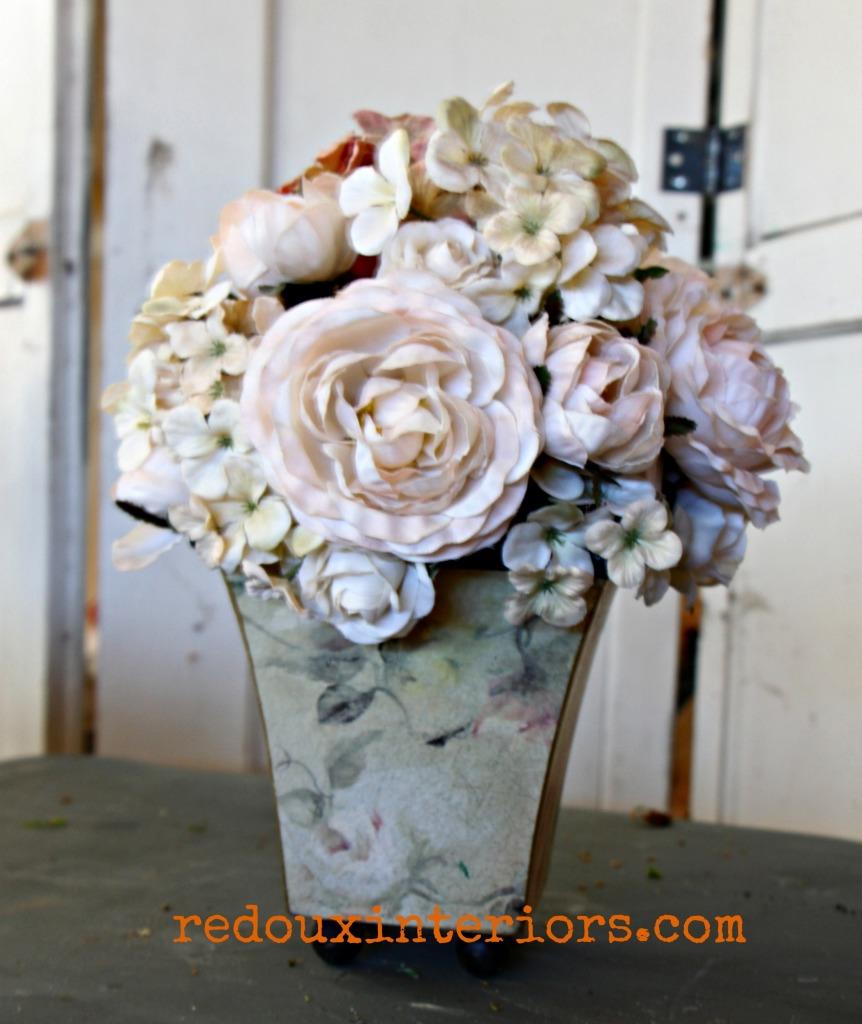 dumpster found fake flower pot redouxinteriors