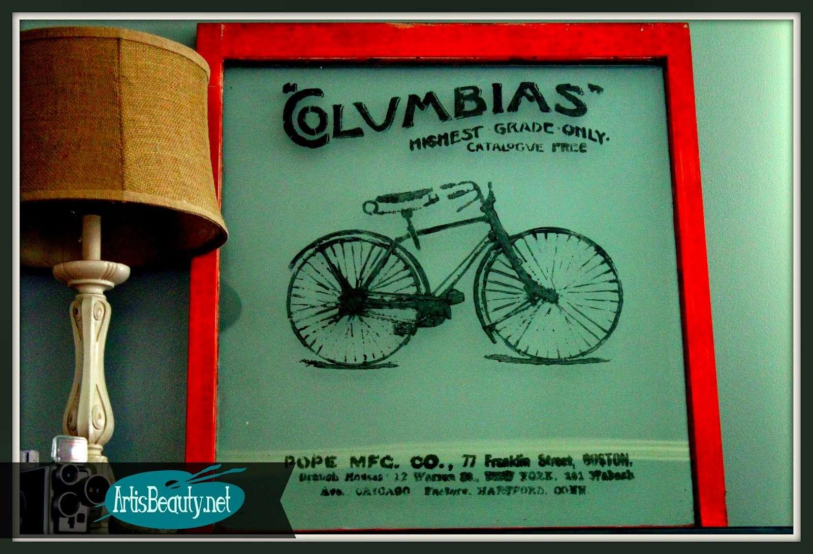 vintage bike advertisement window