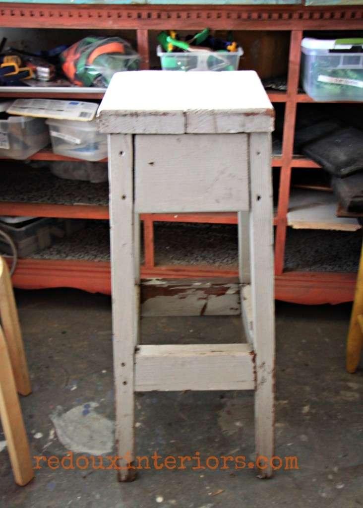 Dumpster found stool table redouxinteriors
