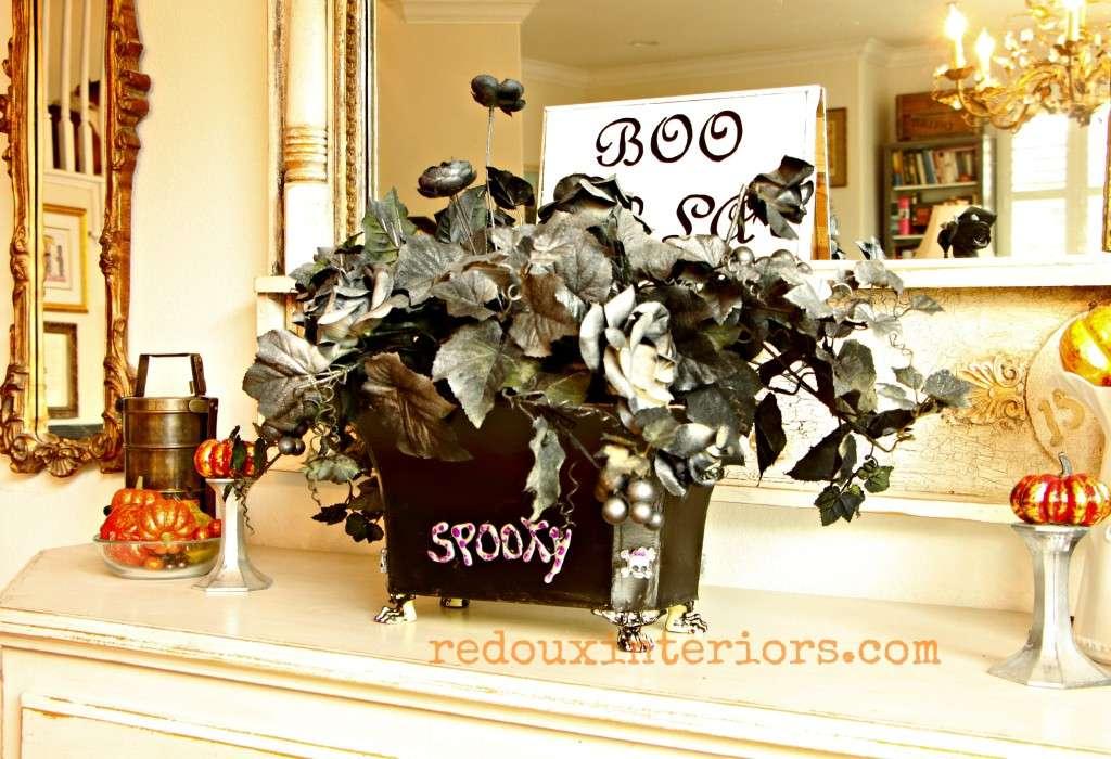 ModPodge Floral Halloween junk makeover redouxinteriors