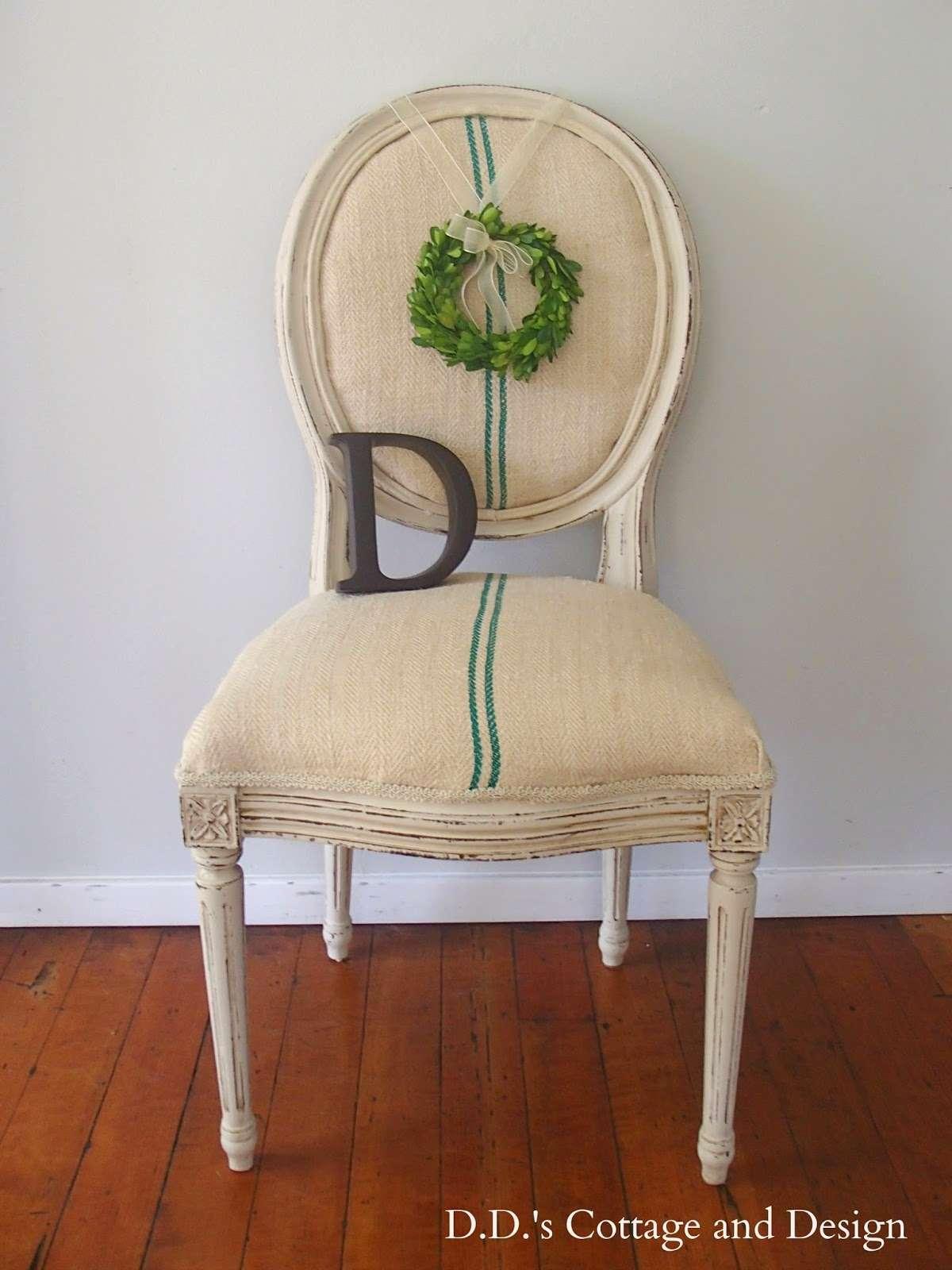 ddscottage chair makeover grain sack