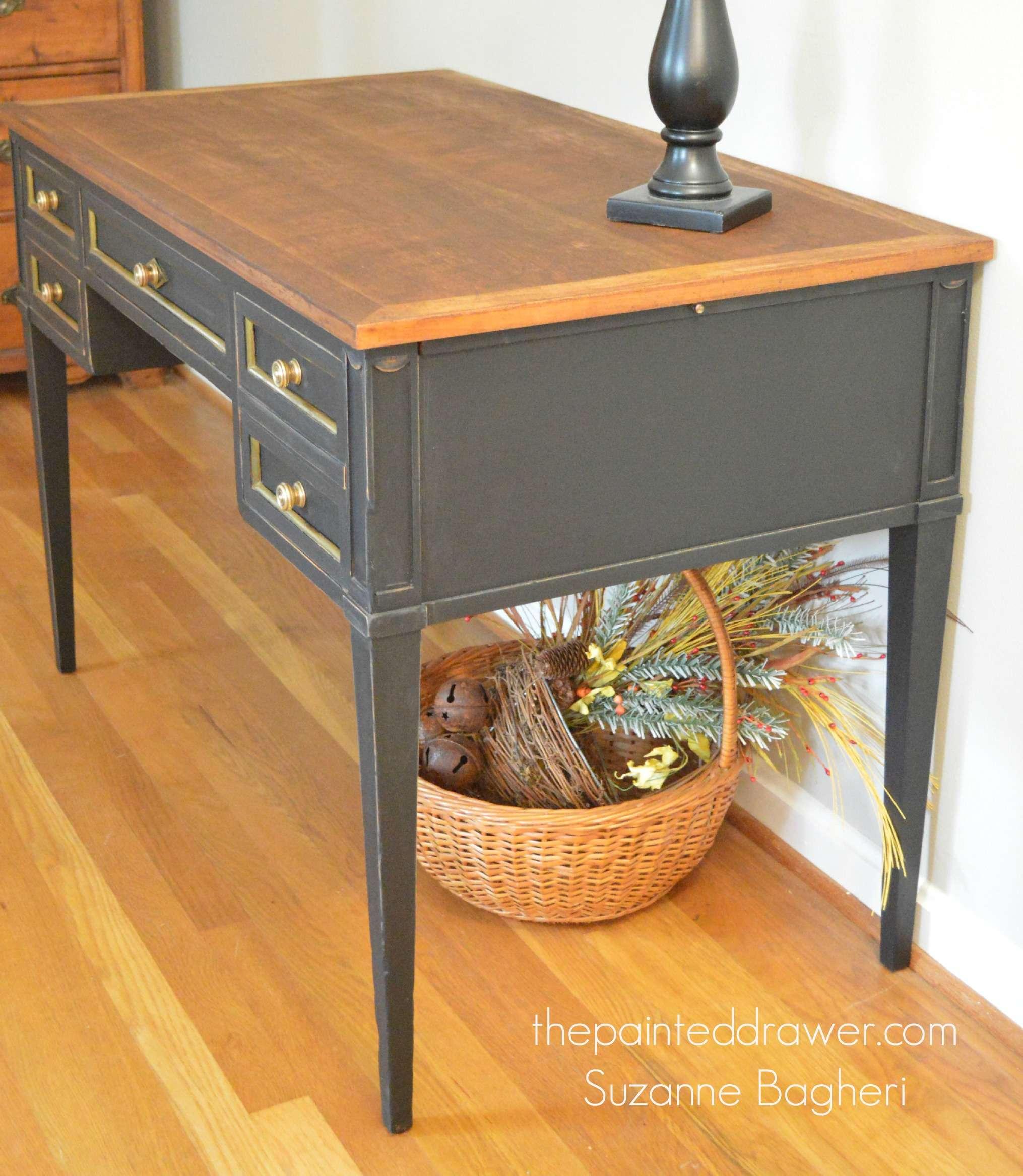 painted drawer desk makeover in black