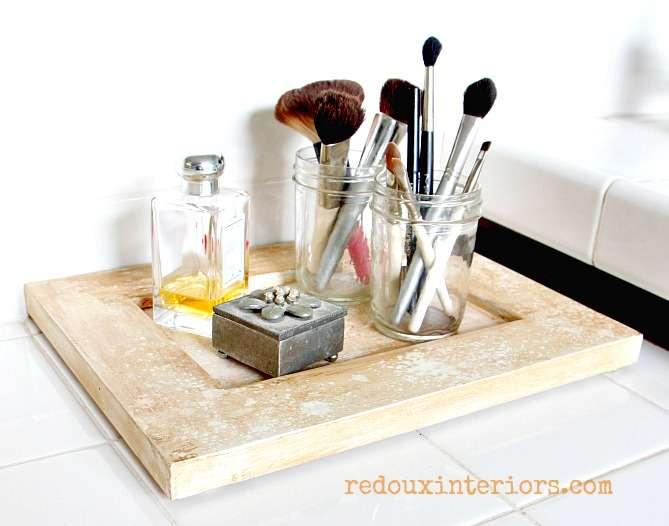 old cabinet door turned makeup tray redouxinteriors