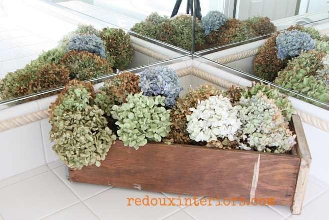 upcycled drawer into hydrangea holder redouxinteriors