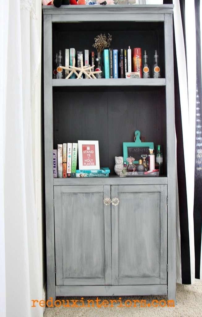 Bookshelf makeover Silverhill fog redouxinteriors