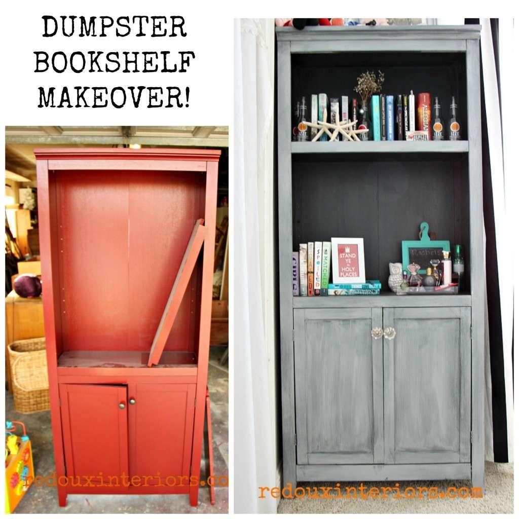 Junk bookshelf makeover before after redouxinteriors