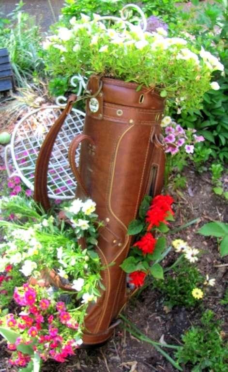 golf bag turned planter redouxinteriors