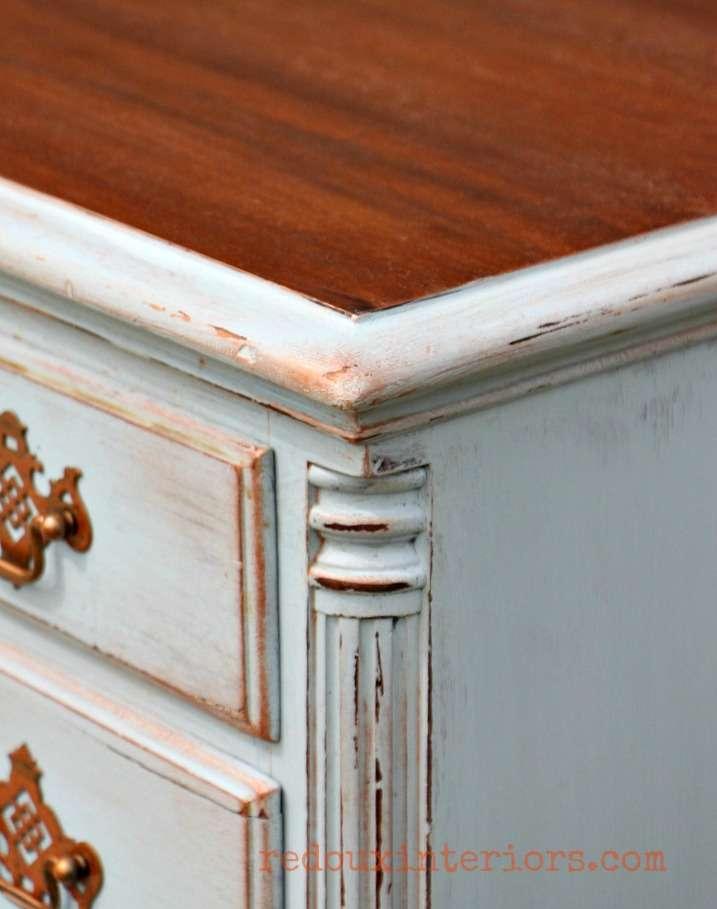 cece caldwells stains and metallic wax distressed desk corner redouxinteriors