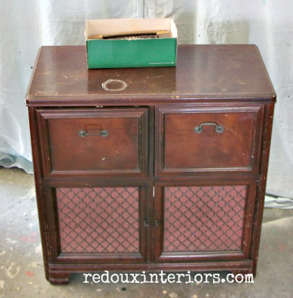 Vintage Stereo Cabinet makeover before redouxinteriors