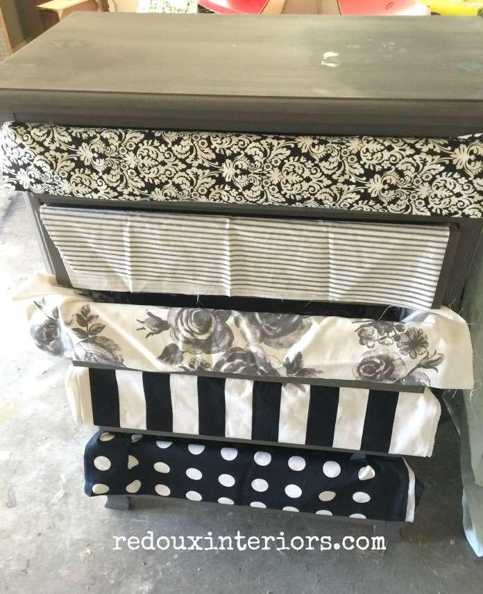 Dresser prepped with fabric redouxinteriors