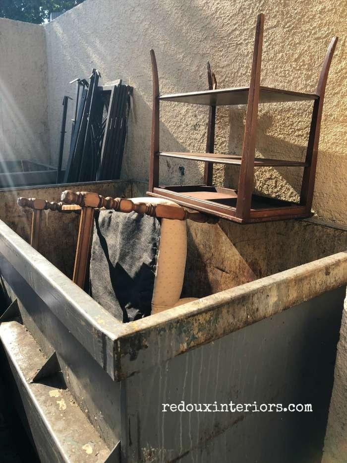 Upholstered chair in dumpster redouxinteriors.com