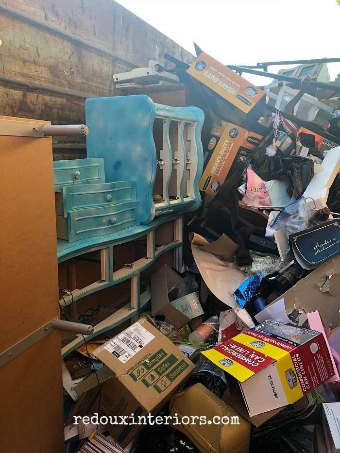 Furniture inside a Dumpster